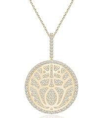 natori kamon overlapping pendant necklace, women's, gold natori