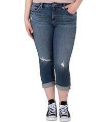 silver jeans co. trendy plus size avery ripped cropped skinny jeans