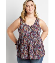 maurices plus size womens blue floral lace up babydoll tank top