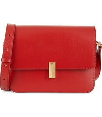 boss hugo boss women's nathalie leather shoulder bag - red