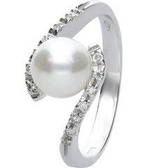 anello in oro bianco, perla e diamanti 0,13 ct per donna