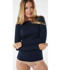maglia manica lunga tubolare cotone/seta scollo a barchetta