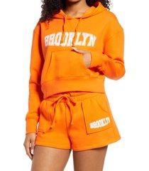 women's bp. women's city crop fleece hoodie, size large - orange