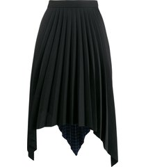 acne studios two print pleated a-line skirt - black