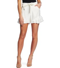 women's cece tiered ruffle belted shorts, size 12 - ivory