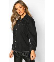 puff sleeve shirt, black