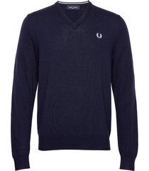 classic merino v/n stickad tröja v-krage blå fred perry