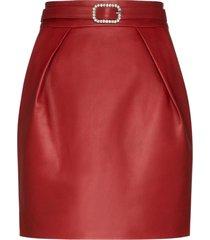 alexandre vauthier crystal-embellished leather mini skirt - red