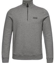 b.intl essential h zip sweat-shirt tröja grå barbour