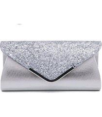 bolsa clutch liage envelope brilho glitter e metal alça removível prata - kanui
