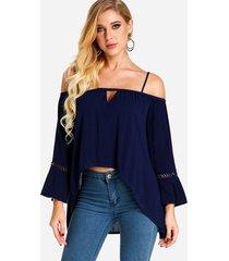 blusas de manga larga con hombros descubiertos y corte azul marino con dobladillo alto