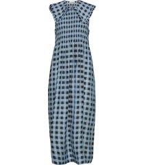 cotton silk jurk knielengte blauw ganni
