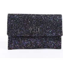 anya hindmarch valorie purple multicolor glitter leather clutch bag purple/multicolor sz: m