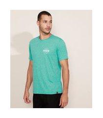 "camiseta masculina paradise"" manga curta gola careca verde"""