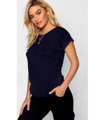 boxy basic t-shirt met omgeslagen mouwen, marineblauw