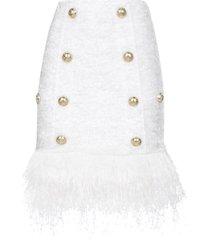 short 8 btn fringed tweed strap skirt