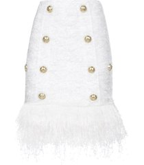 balmain short 8 btn fringed tweed strap skirt