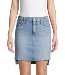 saw step-hem denim skirt