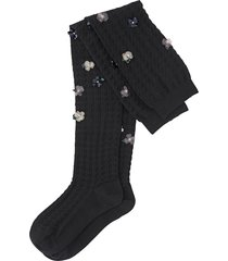miu miu over-the-knee floral-embellished socks - black