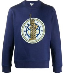 kenzo embroidered logo relaxed-fit sweatshirt - blue