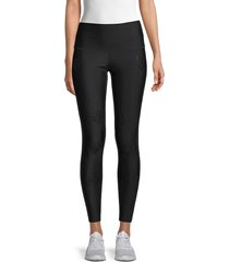 electric yoga women's panther-print high-rise leggings - hot pink - size l