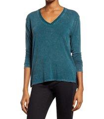 women's treasure & bond mineral wash long sleeve t-shirt, size xx-small - green