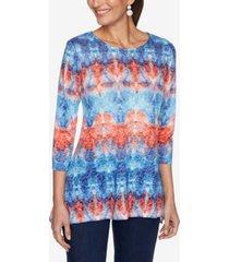 ruby rd. women's misses knit embellished tiedye top