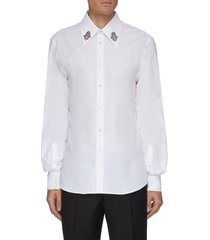 floral crystal embellished point collar cotton oxford shirt