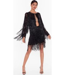 womens studio bead it fringe mini skirt - black
