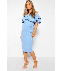 positiekleding midi-jurk met blote schouder en ruches, bluebell