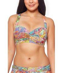 women's bleu by rod beattie ruched bandeau underwire bikini top, size 40d - pink