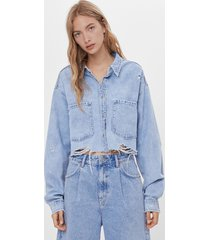 cropped denim overjas