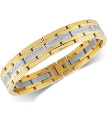 esquire men's jewelry diamond link bracelet (1/2 ct. t.w.) in stainless steel & gold ion-plate, created for macy's