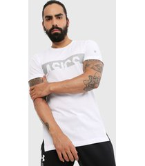 camiseta blanco-gris asics graphic ss top