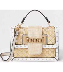 river island womens cream weave gold ri satchel handbag