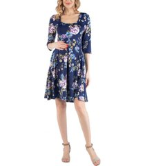 24seven comfort apparel fit and flare floral print maternity dress