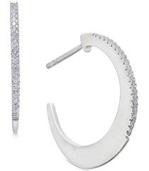 "diamond small thin-edge hoop earrings (1/8 ct. t.w.) in 14k white gold, 0.75"""
