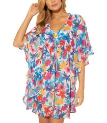 bleu by rod beattie ruffled caftan cover-up women's swimsuit