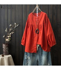 zanzea camisa de manga larga con botones de linterna para mujer blusa casual de algodón liso plus -rojo