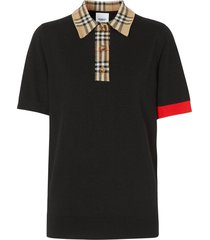 black check print polo shirt