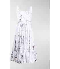 alexander mcqueen illustration print dress