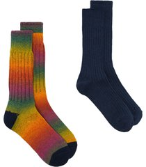 anonymous ism rainbow ribbed socks - blue