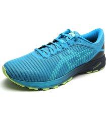 tenis running azul turquesa-amarillo neón asics dynaflyte 2