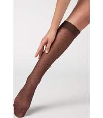 calzedonia patterned knee-high socks woman brown size tu