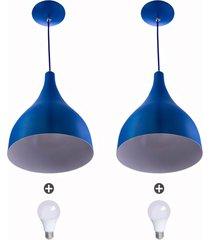2 lustres pendente gota media alumínio 30cm azul + lampada