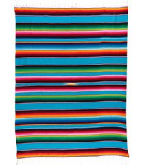 native yoga large mexican serape blanket turquoise cotton