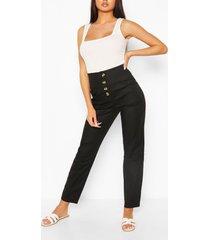 skinny broek van stretchkatoen met knoopjes voor, zwart