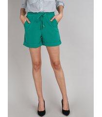 short feminino midi com cordão barra dobrada verde