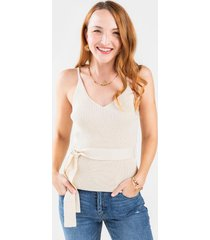 corine belted sweater tank top - ivory