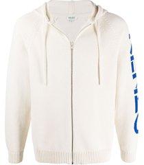 kenzo jacquard-knit zipped hoodie - neutrals